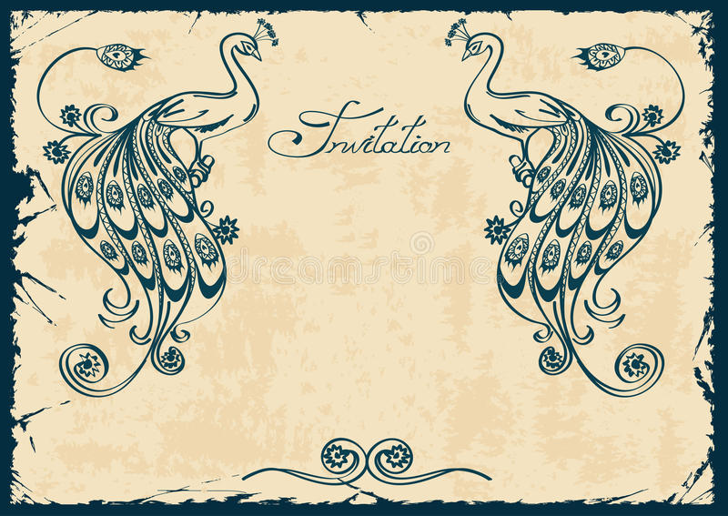 Download Invitation Or Card With Blue Peacock Stock Vector - Image: 34565036