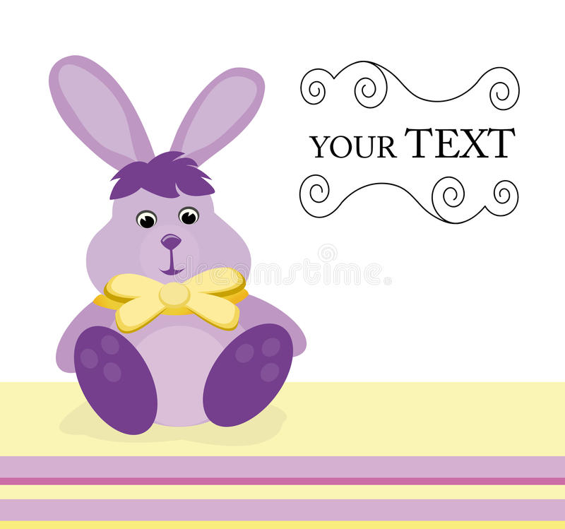 Invitation card with bunny stock illustration