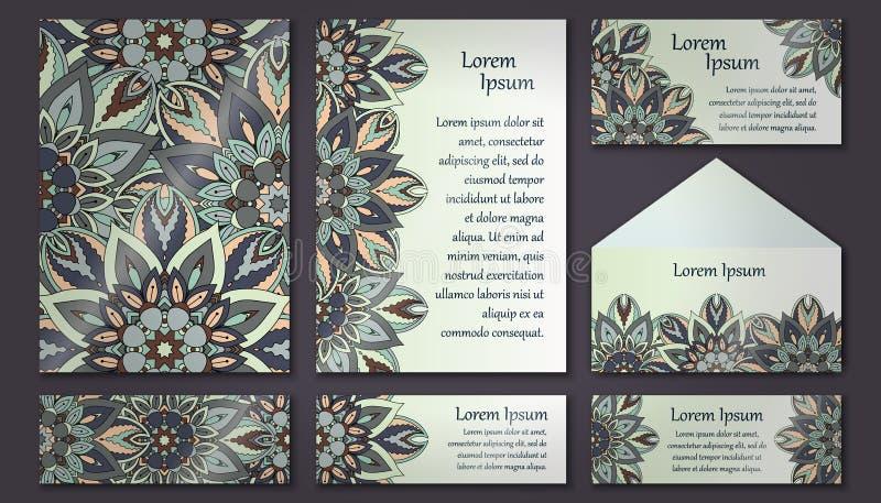 Invitation card collection. Vintage decorative elements. Islam, Arabic, Indian, ottoman motifs. royalty free illustration