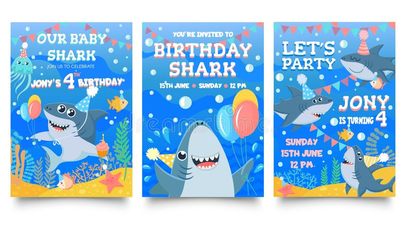 Invitation card with cute sharks. Baby shark birthday party, sharks family celebrate children birthday and invitations. Template. Sea party greeting card stock illustration
