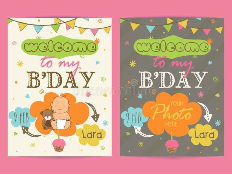 Invitation Card Design For Birthday Party. Stock Illustration ...