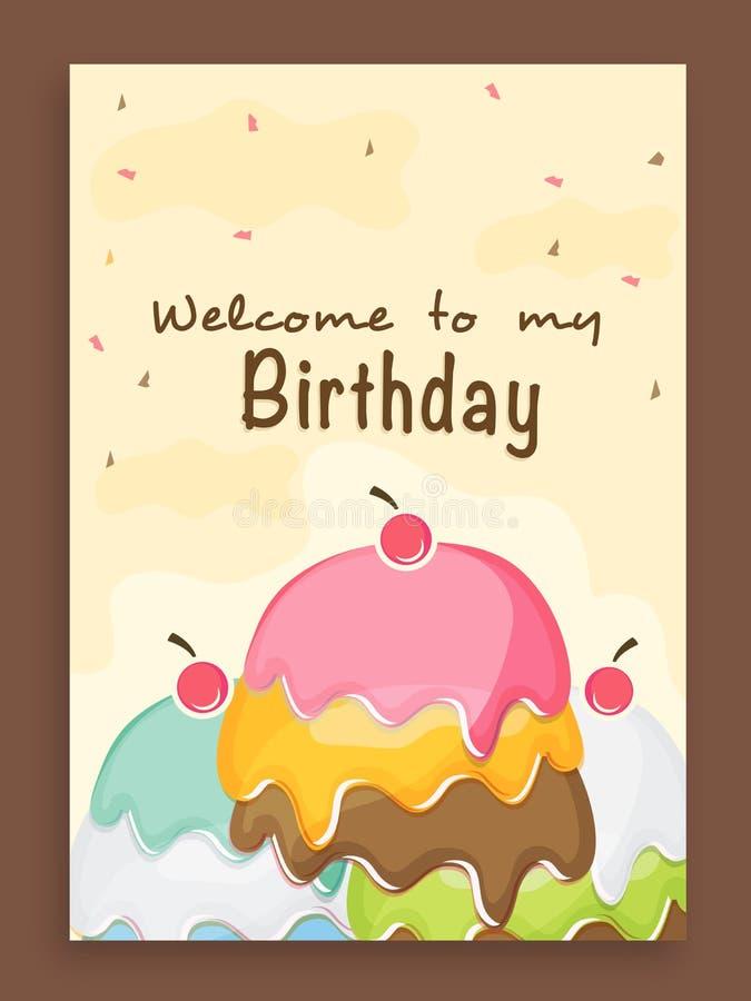Invitation card design for birthday party stock illustration beautiful vintage invitation card design for birthday party celebration decorated with colorful cake stopboris Gallery