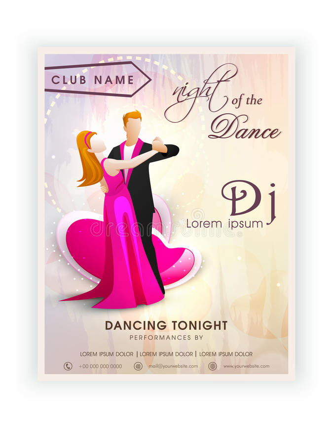 Invitation Card Design For Dance Party. Stock Illustration ...
