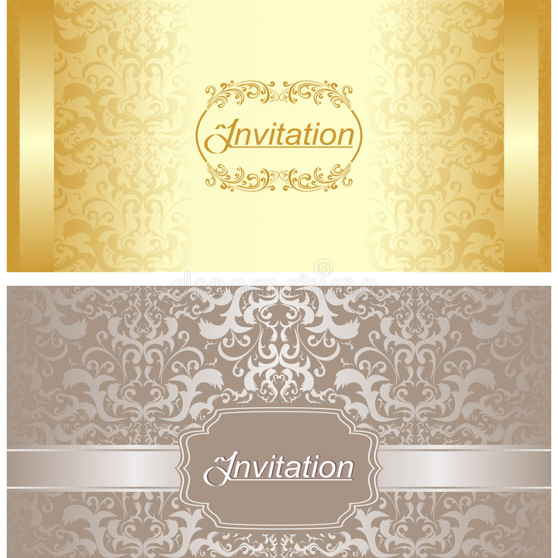 Invitation card design in gold and silver colors stock vector download invitation card design in gold and silver colors stock vector illustration of engagement stopboris Image collections