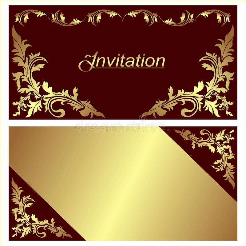 invitation card  design with golden borders stock vector