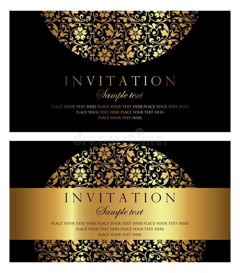 Invitation card design luxury black and gold vintage style stock download invitation card design luxury black and gold vintage style stock vector illustration of stopboris Image collections