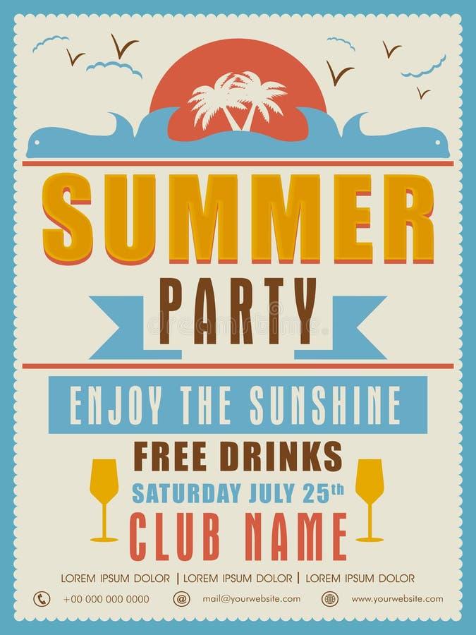 Invitation Card Design For Summer Party. Stock Illustration ...