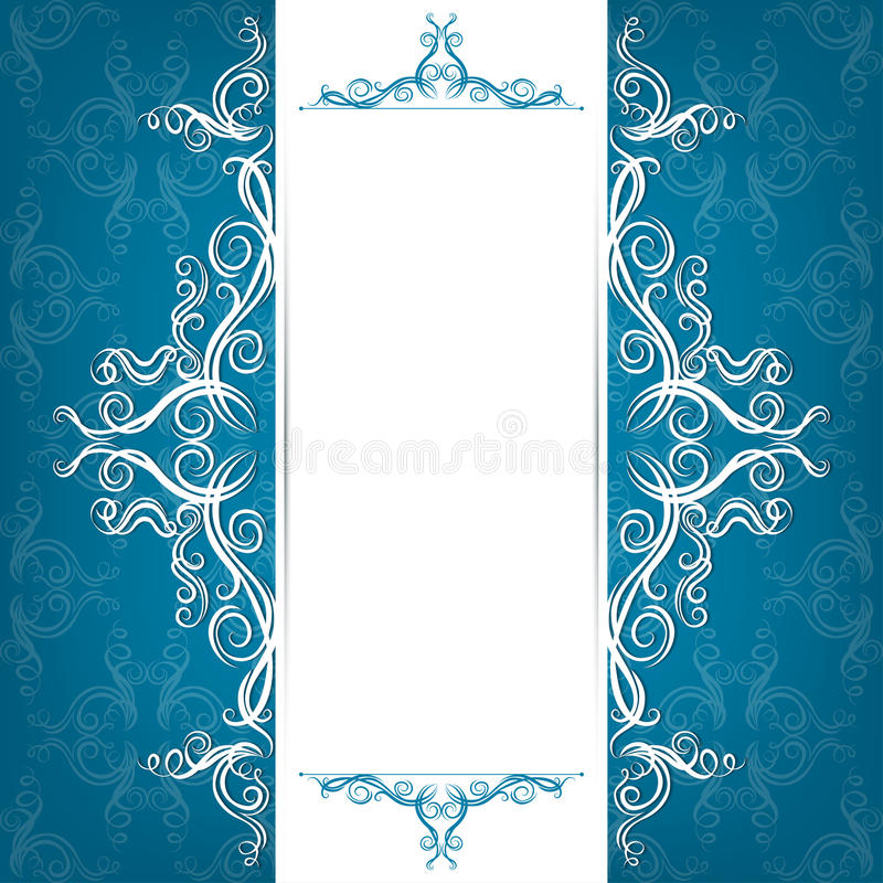 Invitation card with filigree ornaments. With hand-drawing style, place for text royalty free illustration