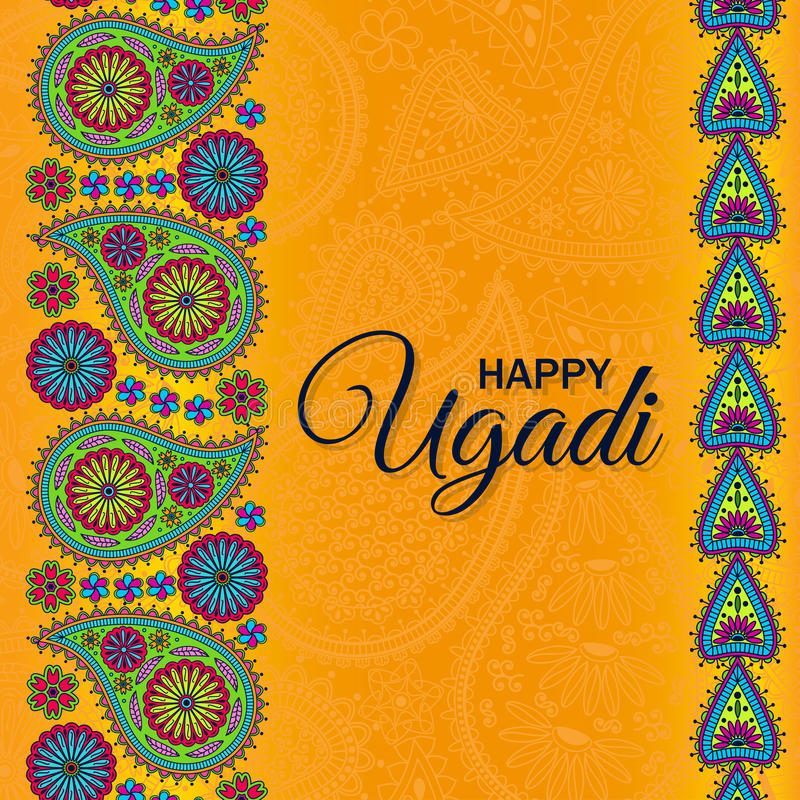 Invitation card. Floral paisley background with indian ormament and text Happy Ugadi royalty free illustration