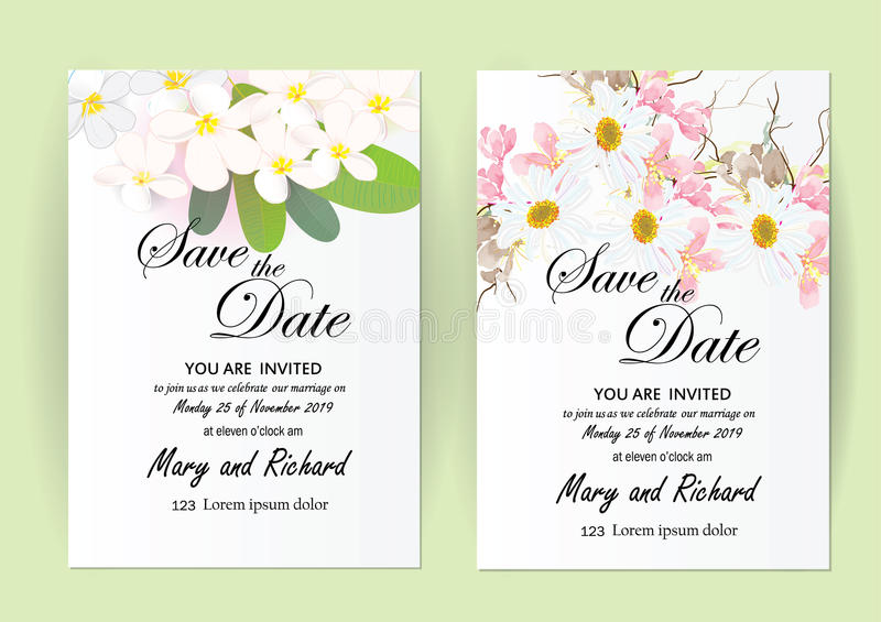 Invitation card flowers concept come with pink color tree flower bouquet cherry blossom,cosmos,and vector illustration