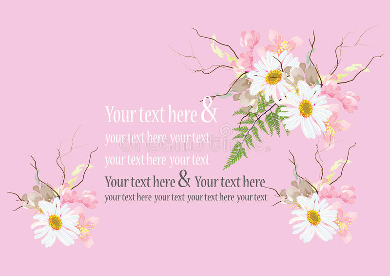 Invitation Card Flowers Concept Come With Pink Color Tree Flower ...