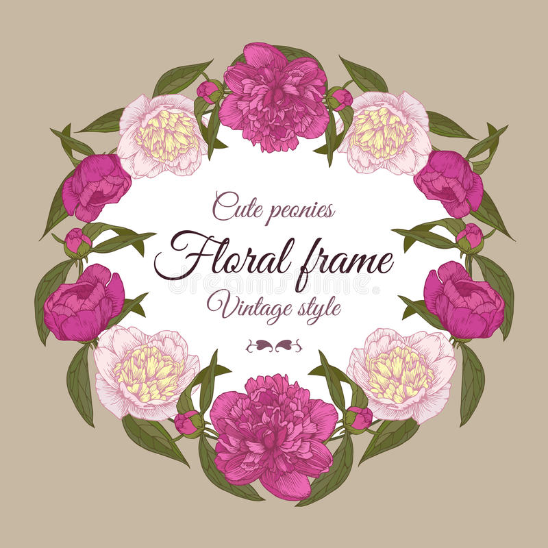 Invitation card with flowers. Vector floral frame with hand drawn pink and white peonies in vintage style royalty free illustration