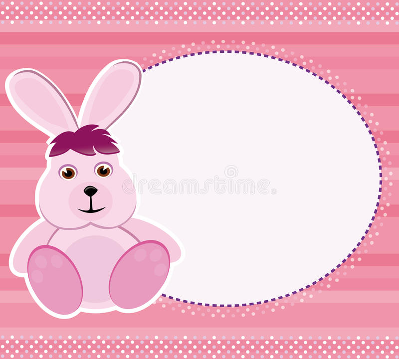 Invitation card/frame with bunny royalty free stock image