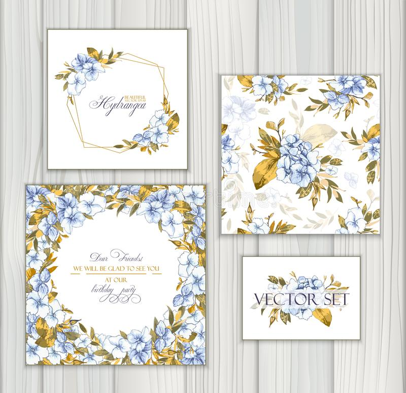 Set of vector templates for greetings or invitations to the wedding and one seamless pattern with blue hydrangea. stock illustration