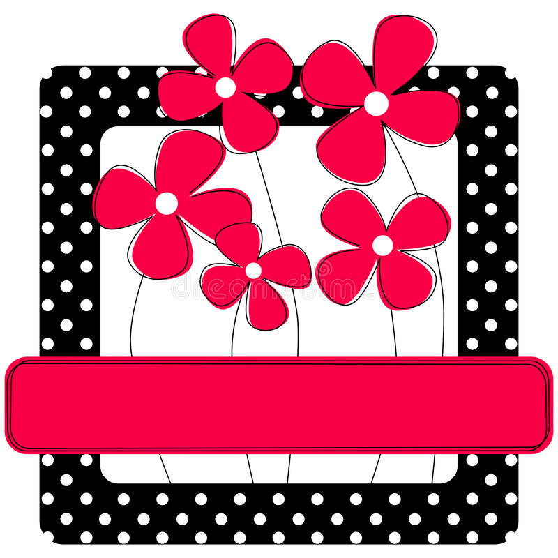 Polka dots frame with flowers. Invitation card or frame with polka dots and flowers. Personalised white text will look good on the pink banner
