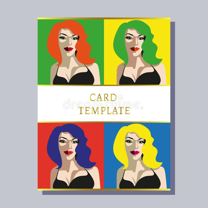 Greeting invitation card template design with pop art woman. Beautiful woman Close up drinking wine. Design for banner, flyer, inv. Itation, poster, web site or stock illustration
