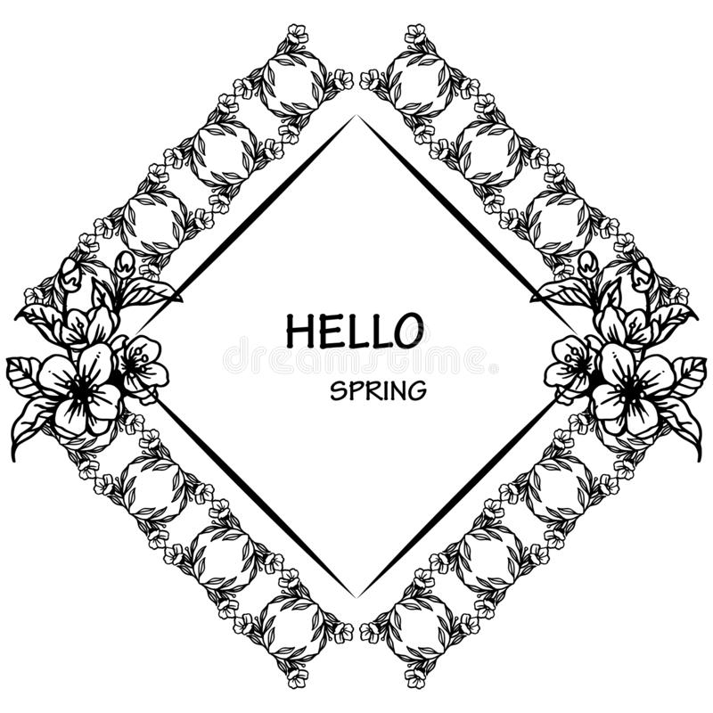 Invitation card hello spring, with silhouette wreath frame on white background. Vector vector illustration