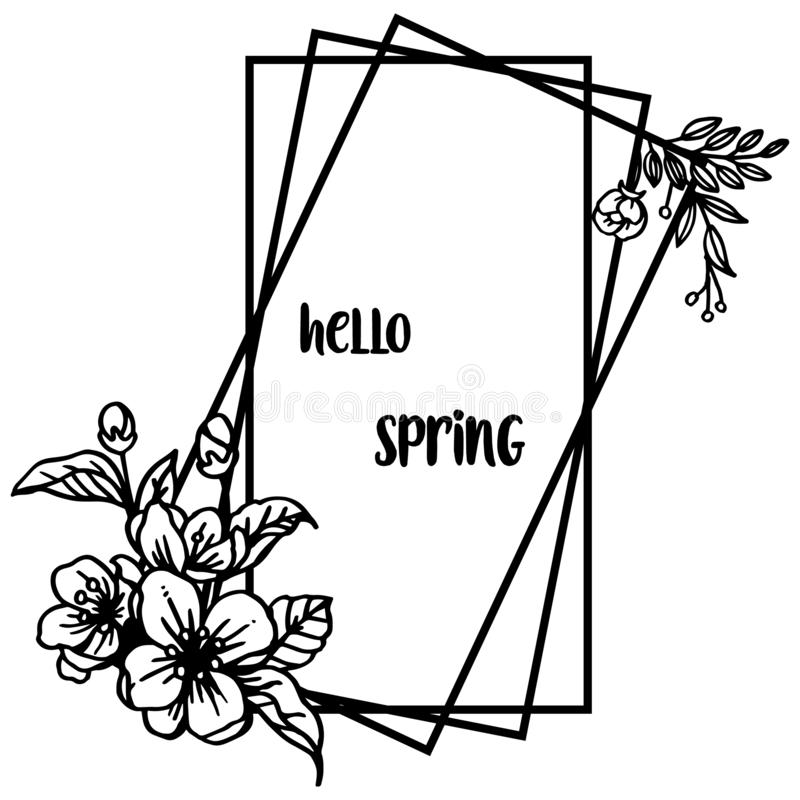 Invitation card hello spring, with silhouette wreath frame on white background. Vector stock illustration
