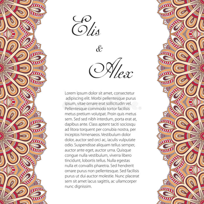 Invitation card with lace ornament vector illustration