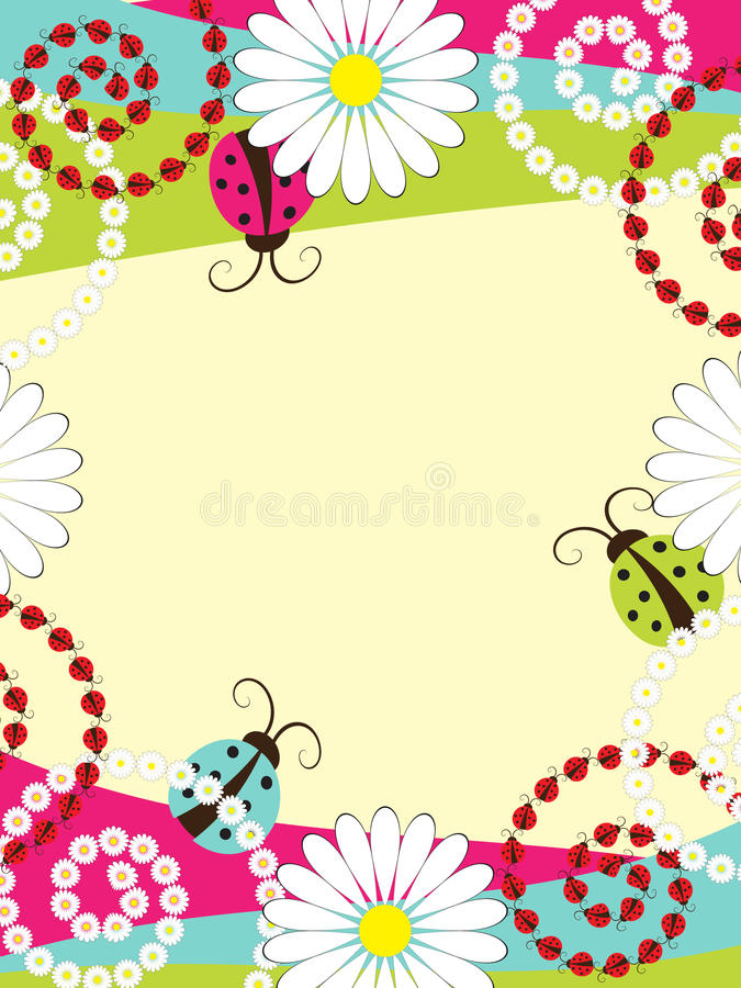 Download Invitation Card With Ladybirds Stock Vector - Illustration of decorative, birthday: 22008314