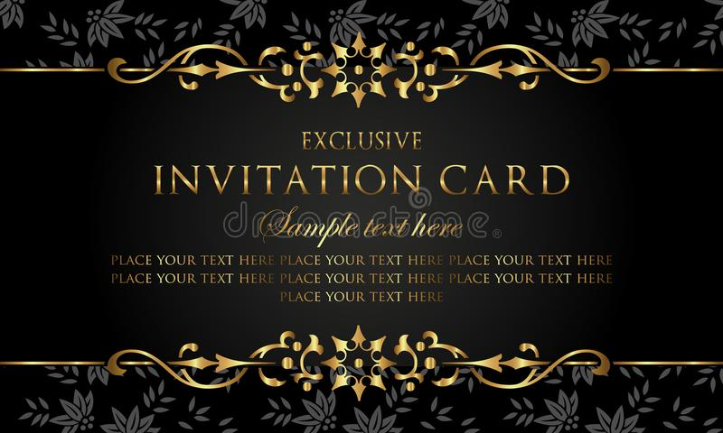 Invitation card luxury black and gold vintage style stock vector download invitation card luxury black and gold vintage style stock vector illustration of foliage stopboris Images