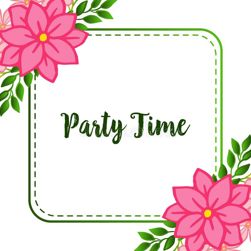 Invitation card of party time, isolated on white backdrop, with pink flower frame. Vector. Illustration stock illustration