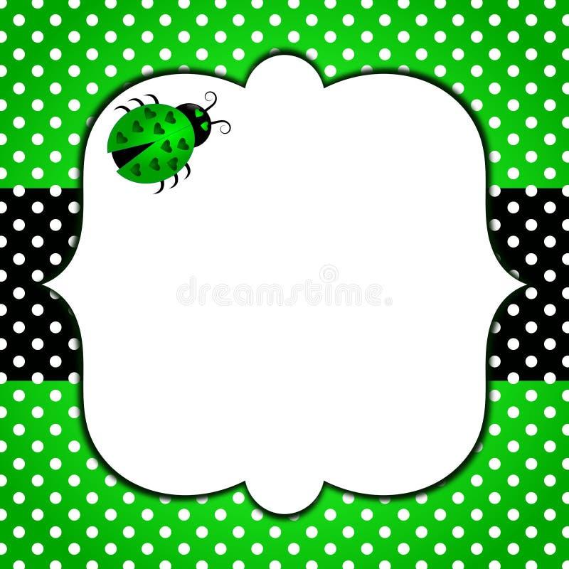 Invitation card polka dots nature ladybug royalty free stock photos