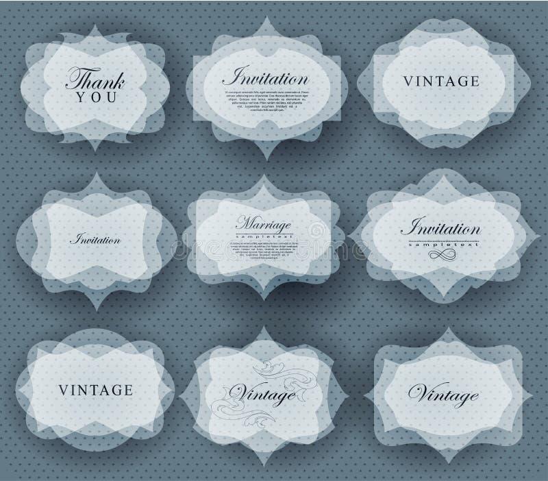 Invitation card in retro style. Elegant transparent invitation card and label in retro style stock illustration