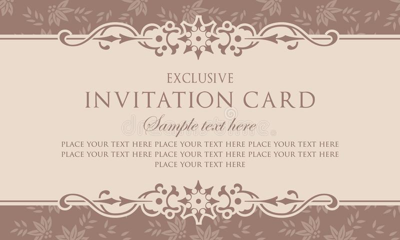 Invitation Card Template Exclusive Vintage Style Stock Vector Illustration Of Brochure Luxury 110301865