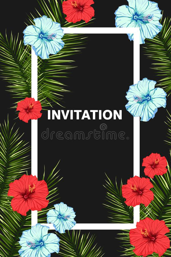 Seamless tropical vector pattern with hibiscus flowers and exotic palm leaves. vector illustration