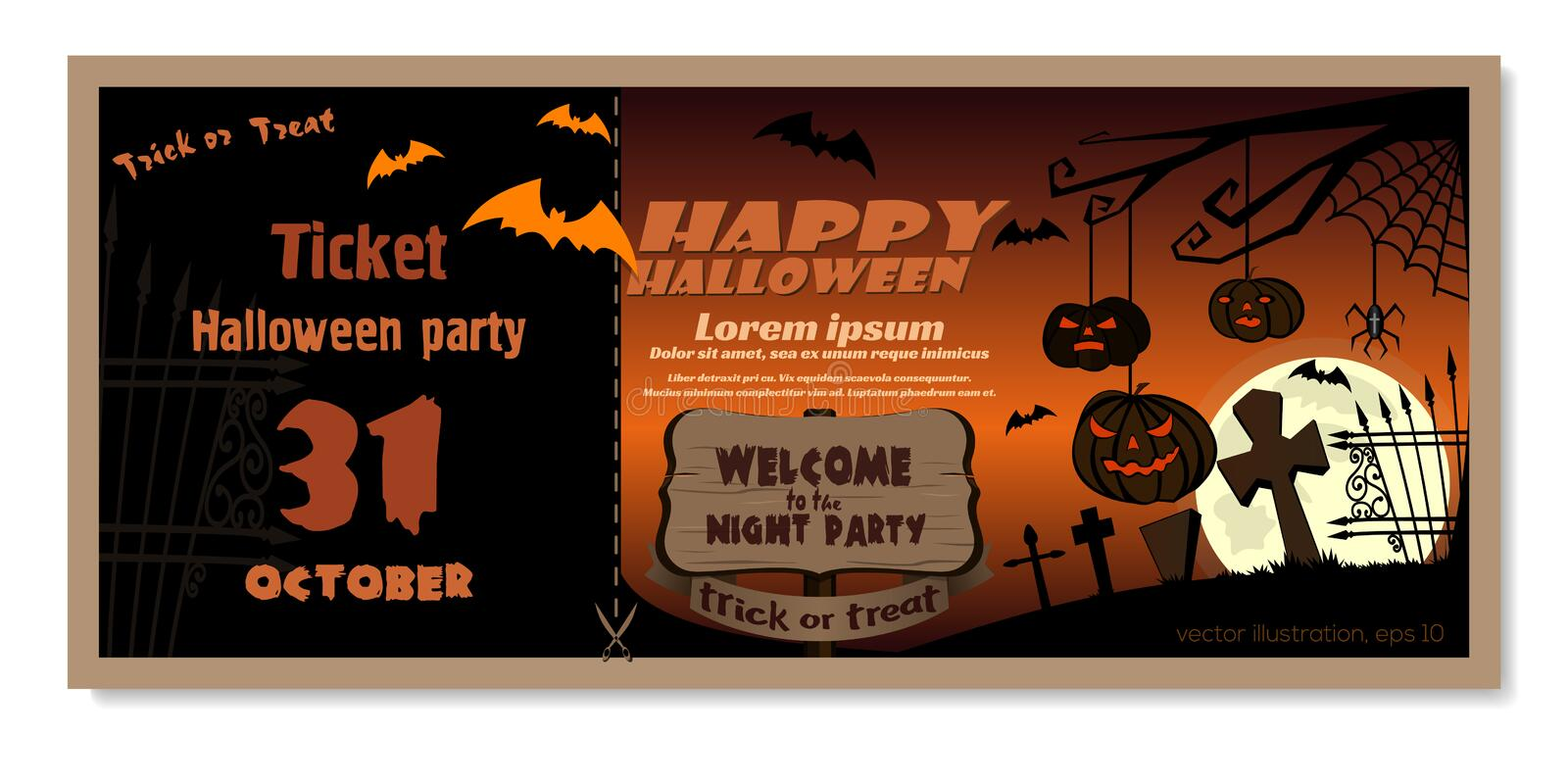 Invitation card template for Halloween night party royalty free illustration