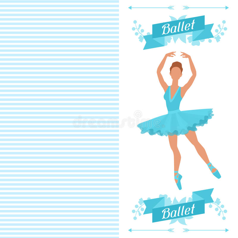 Invitation card to ballet dance show with vector illustration