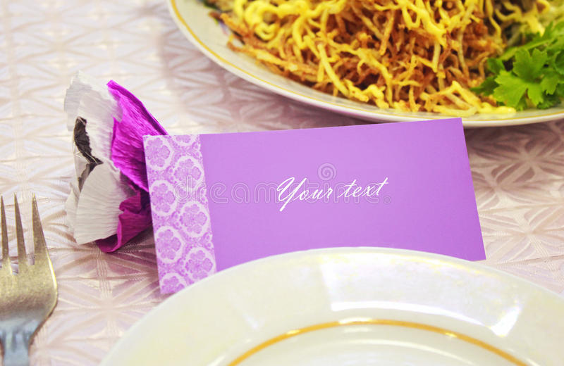 Card for a wedding dinner