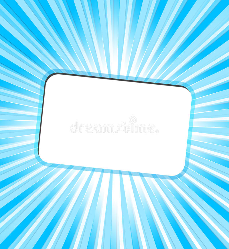 Invitation card with turquoise rays stock image
