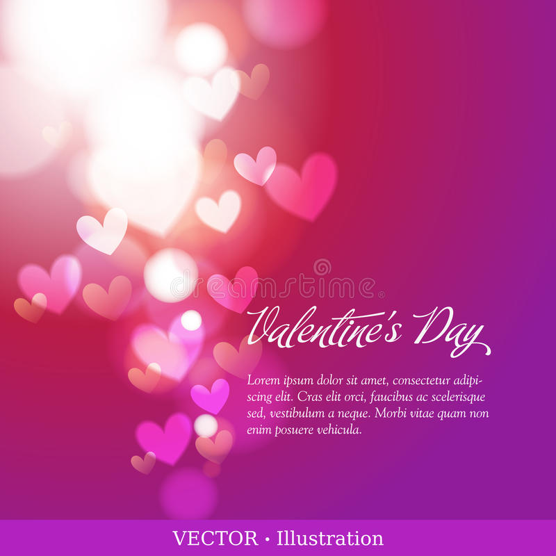 Invitation card of Valentine`s day or Wedding. Elegant greeting card of Valentine`s day or Wedding with hearts and a field for your text. Valentines day stock illustration