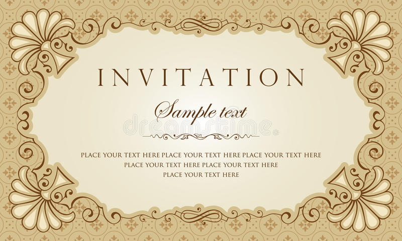 Invitation card vector design - vintage style royalty free illustration