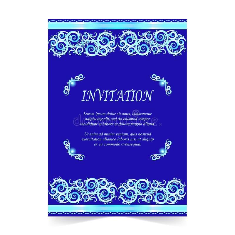 Invitation card wedding card with ornament on royal blue stock download invitation card wedding card with ornament on royal blue stock illustration illustration of stopboris Choice Image