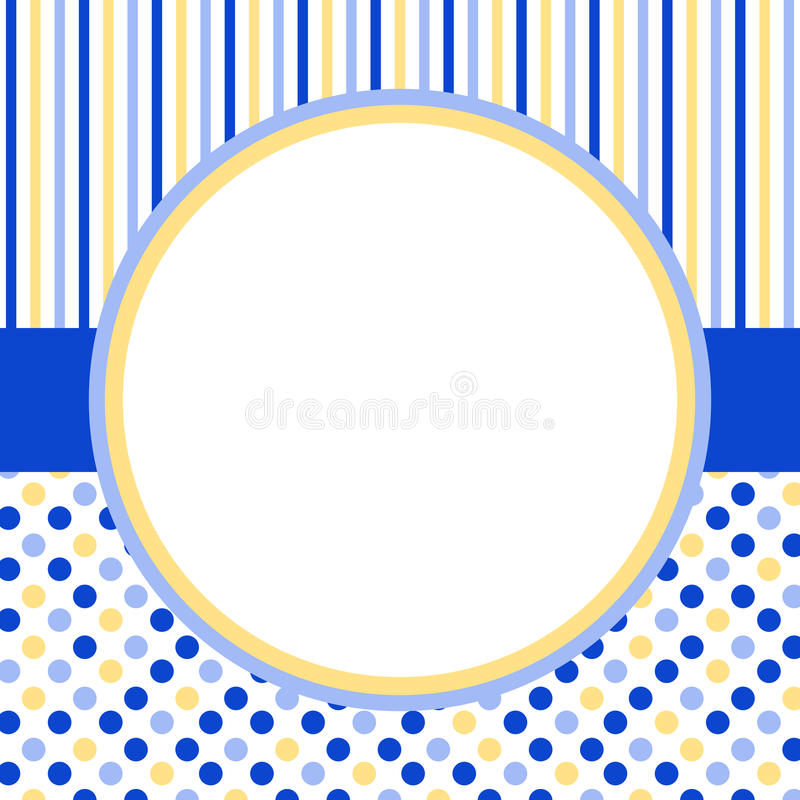 Free Invitation Card With A Circle Frame And Polka Dots Royalty Free Stock Images - 37266379