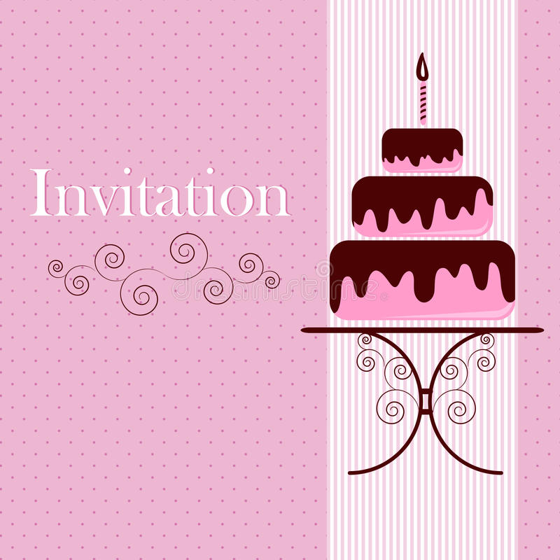 Free Invitation Card With Cake Royalty Free Stock Photo - 23437805