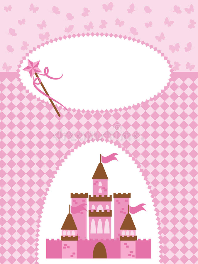 Free Invitation Card With Princess Castle And Wand. Stock Photo - 19418560