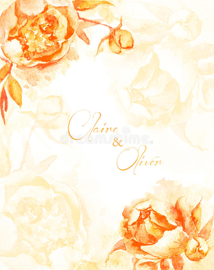 Invitation card. Yellow watercolor peonies. Vintage floral card. Can be used as a greeting card for background of Valentine's day, birthday, mother's day vector illustration