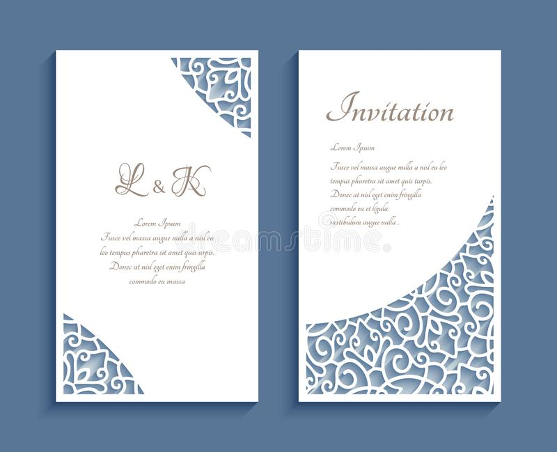 Invitation cards with cutout paper corner patterns. Ornamental panels with lace corner pattern, cutout paper decoration, templates for laser cutting, elegant stock illustration