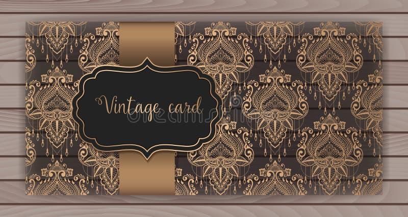 Invitation, cartes avec le fond de damassé Conception de style d'arabesque Sur le fond en bois Cartes de visite professionnelle d illustration de vecteur