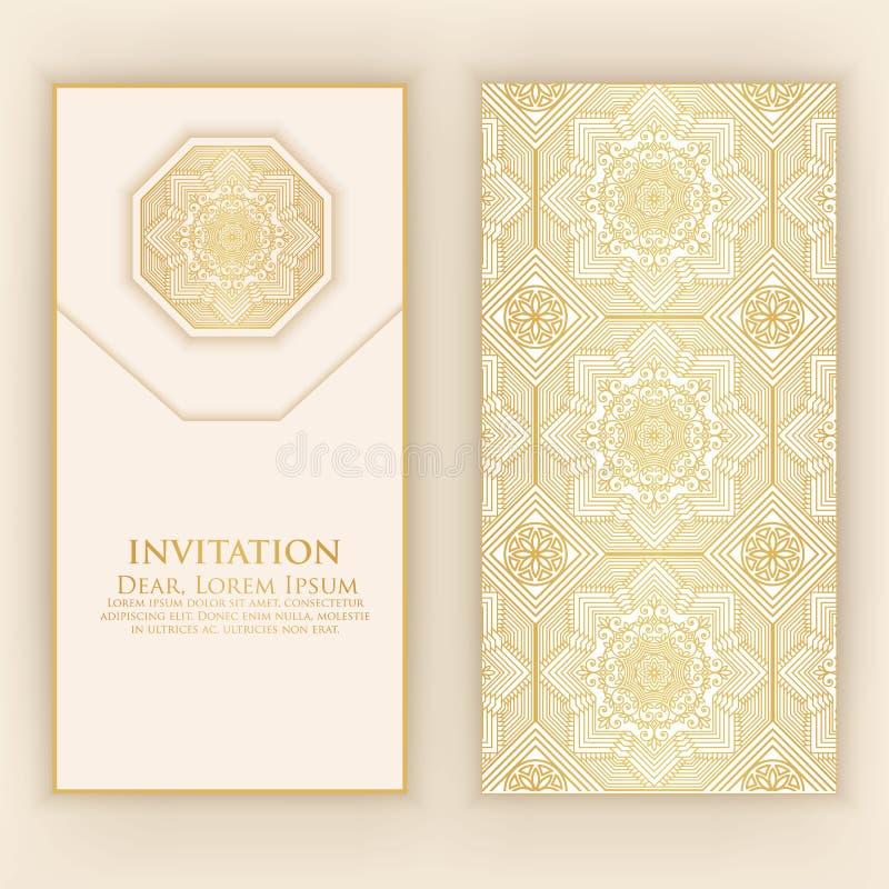 Invitation, cartes avec les éléments ethniques d'arabesque Conception de style d'arabesque Cartes de visite professionnelle de vi illustration de vecteur