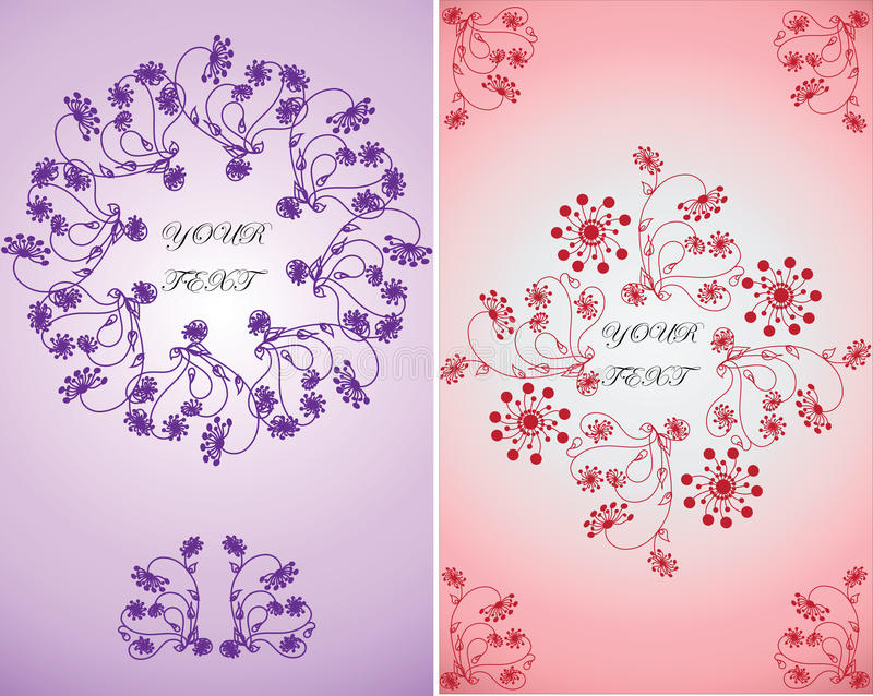Invitation for celebration.Vector floral ornament in lilac and pink backgrounds. royalty free illustration