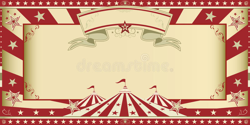 Invitation circus show. Circus invitation with sunbeams and a large frame. A retro invitation card for your circus company