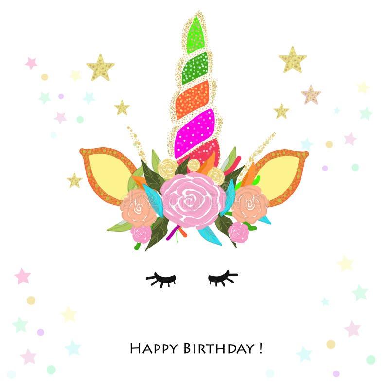 Invitation colorée d'anniversaire de licorne Fête de naissance, carte de voeux d'invitation de partie illustration stock