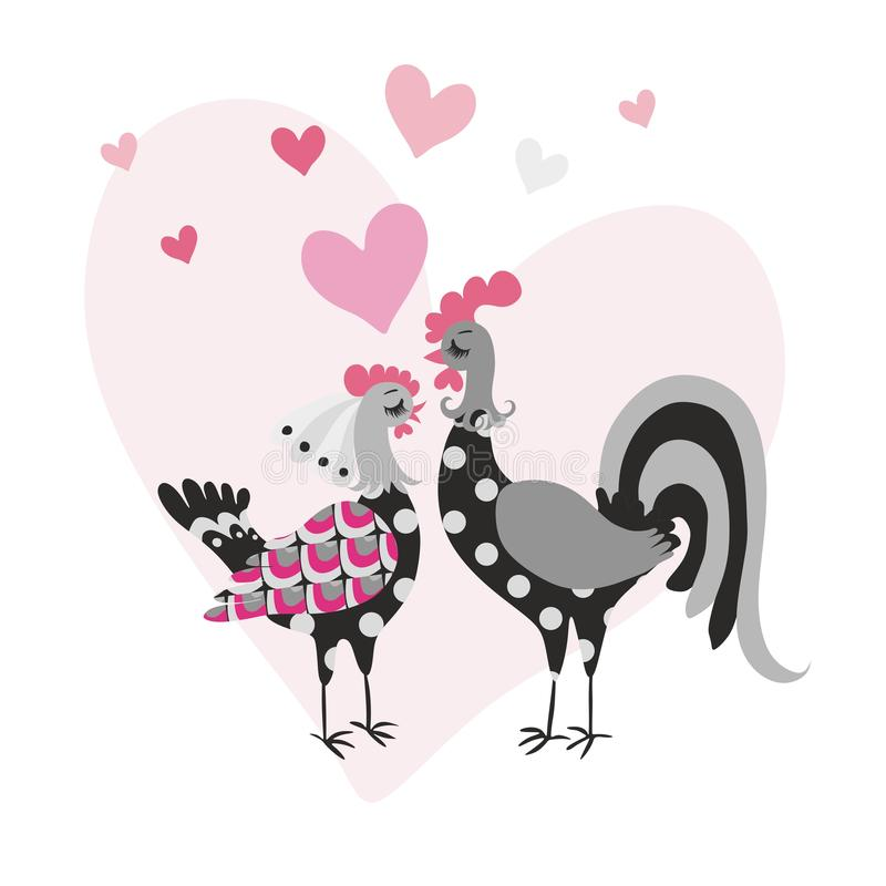 Invitation or congratulatory card with a funny cockerel and a chicken as a bride and groom on the background of a large heart. Invitation or congratulatory card royalty free illustration