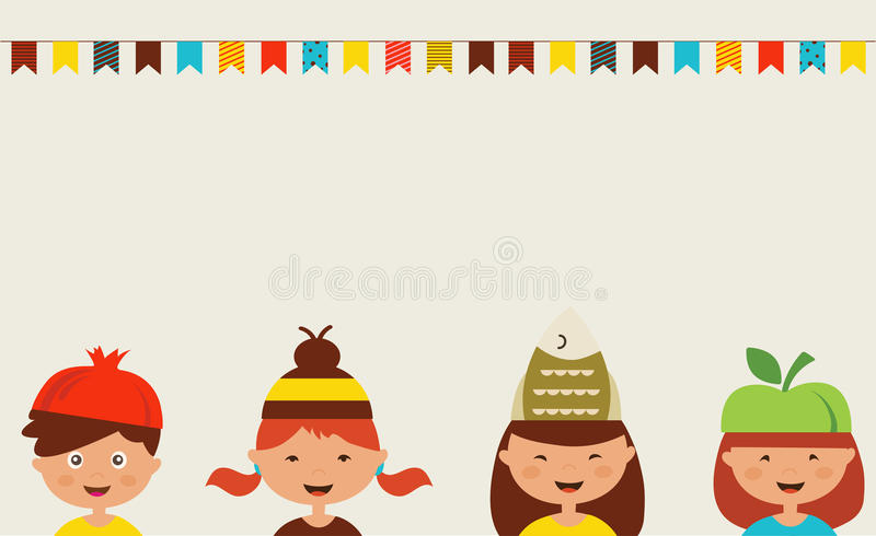 Invitation for costume party. Kids wearing stock illustration