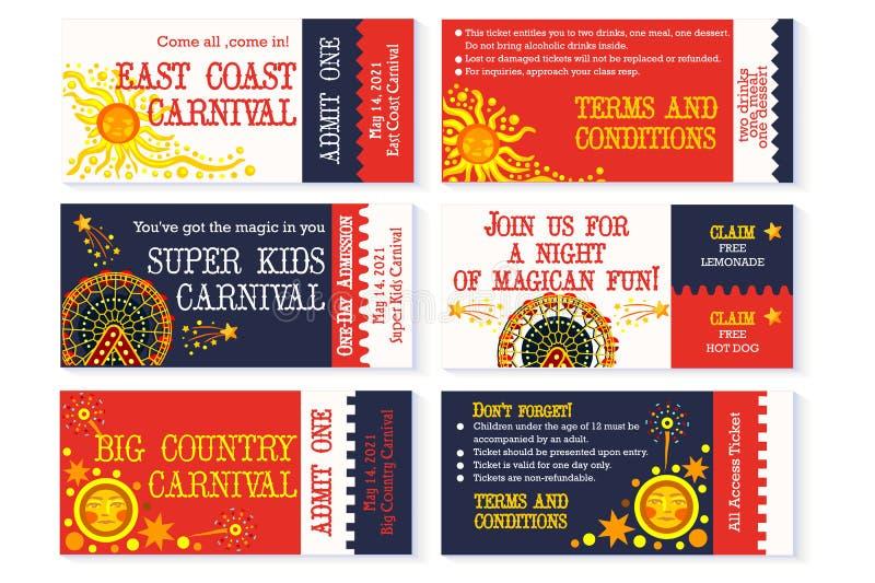 Invitation d'anniversaire de carnaval de billet de cirque illustration stock